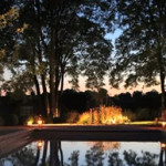 garden lighting around a swimming pool